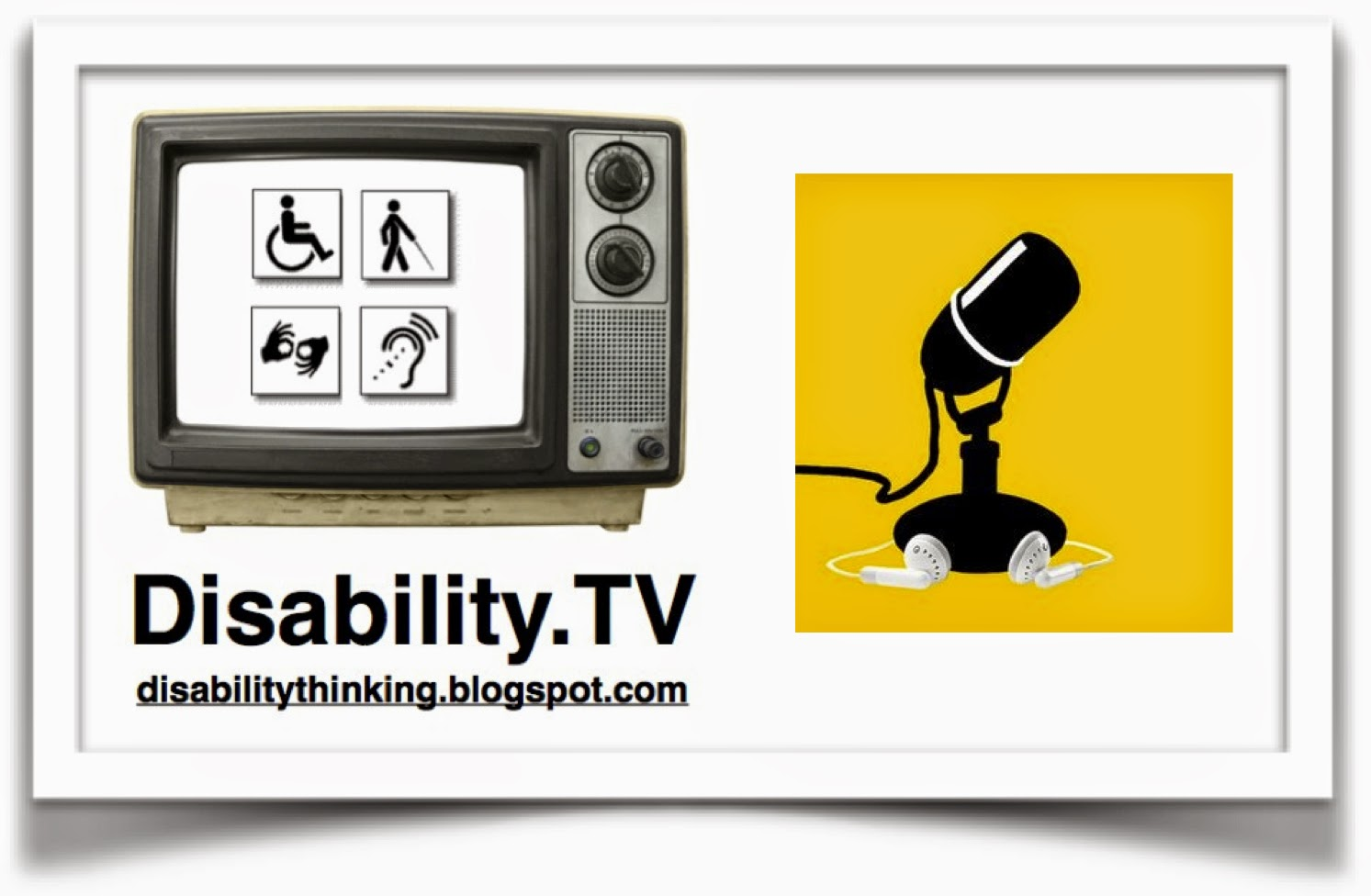 Disability.TV logo on the left, podcast microphone icon on the right