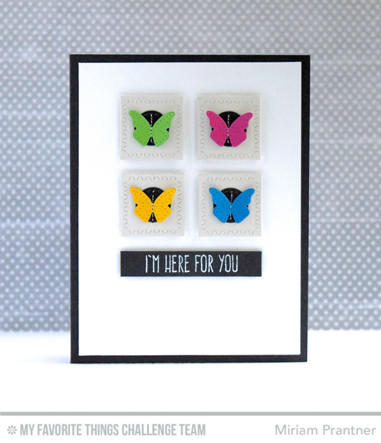 Here for You Card by Miriam Prantner featuring the Lisa Johnson Designs Whimsical Wishes stamp set, the Laina Lamb Designs Hip Clips Die-namics, and the Zig Zag Stitched Square STAX Die-namics #mftstamps