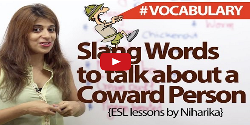 Slang words for a Coward Person