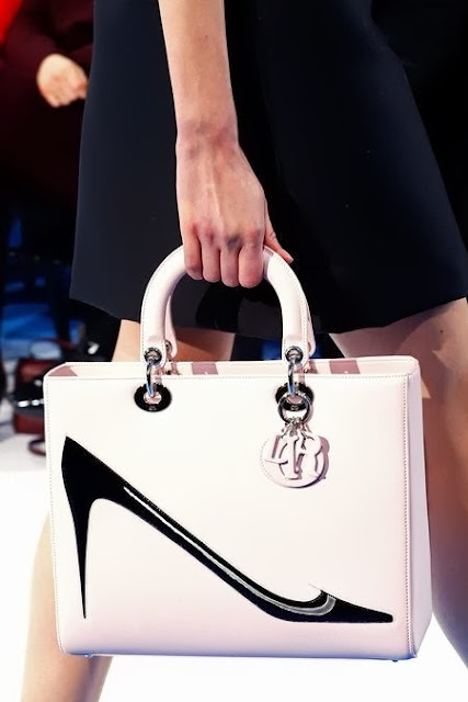 runway details: Christian Dior Fall 2013 bag with heels pattern