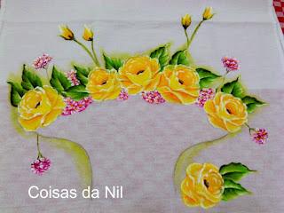 pintura de rosas amarelas para cesta de croche