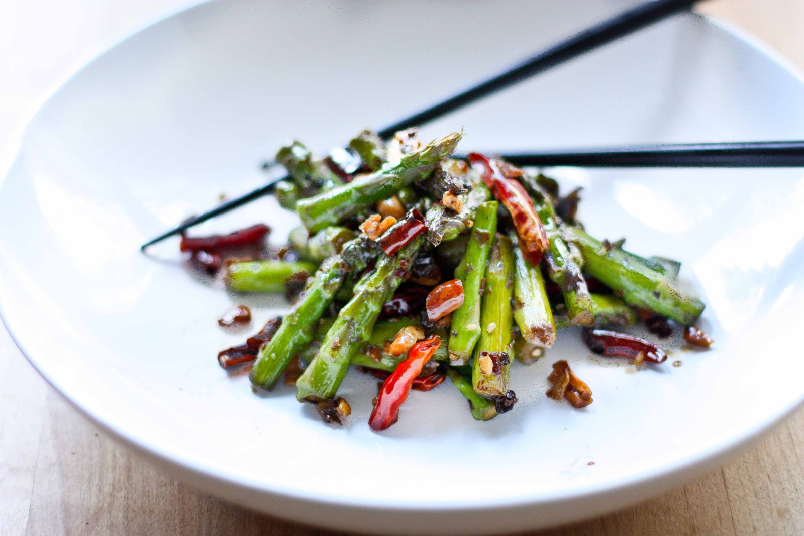 Wok-Seared Asparagus with Chili, Garlic, Black bean Sauce