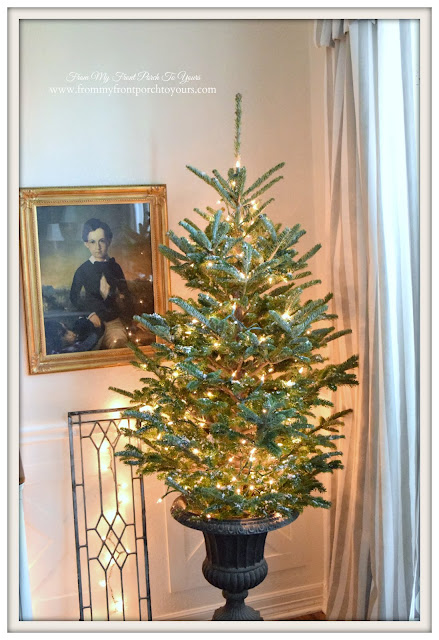 Farmhouse Christmas Dining Room- Christmas Tree In Urn-White Lights-From My Front Porch To Yours