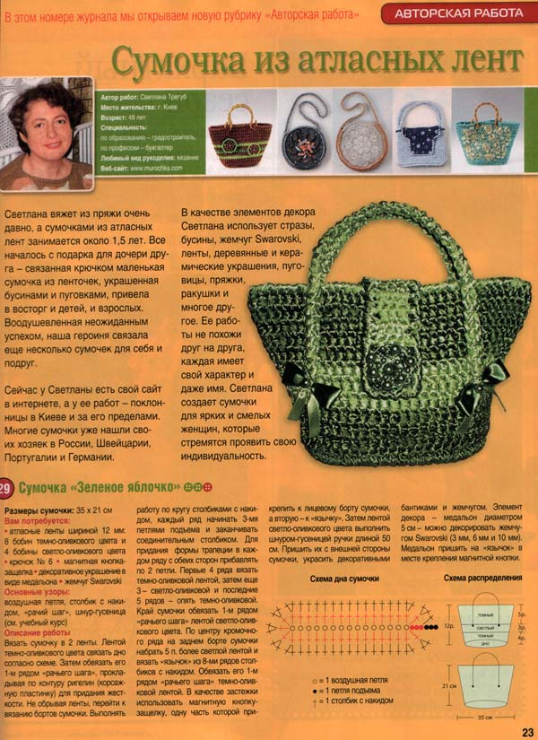 Вязание крючком модели сумочек 91