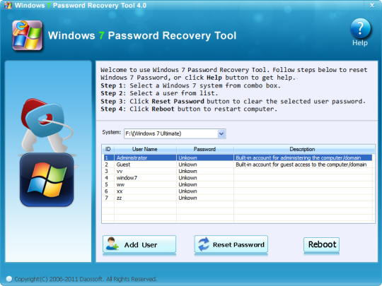 how to change password on windows xp without logging in