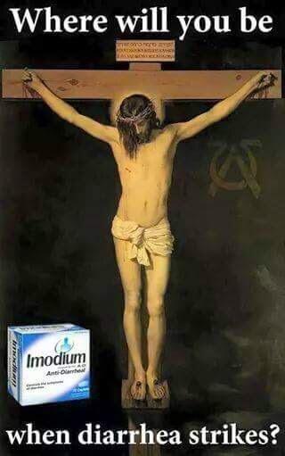 Funny Jesus Cross Imodium Diarrhea Advert Picture
