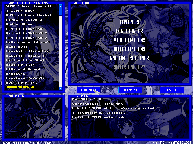 NeoRAGEx Neo Geo Emulator Software
