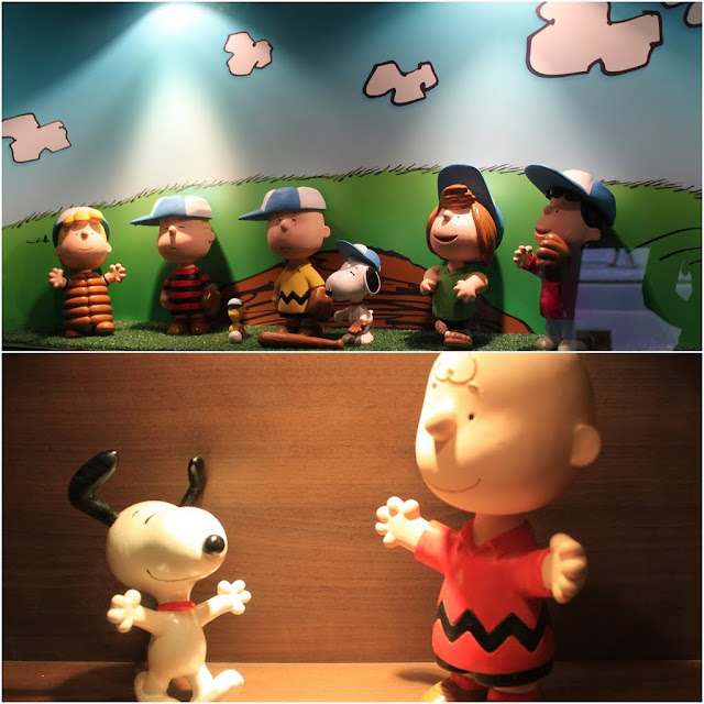 Charlie Brown, Snoopy and Peanuts Characters in Baseball Outfits at Charlie Brown Cafe in Tsim Sha Tsui, Kowloon, Hong Kong