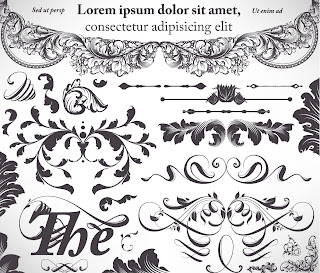 クラシック スタイルな植物柄の装飾 floral embellishment ornaments in vintage classic style イラスト素材5