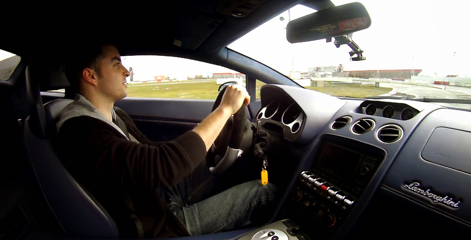 Driving a Lamborghini on a Race Track