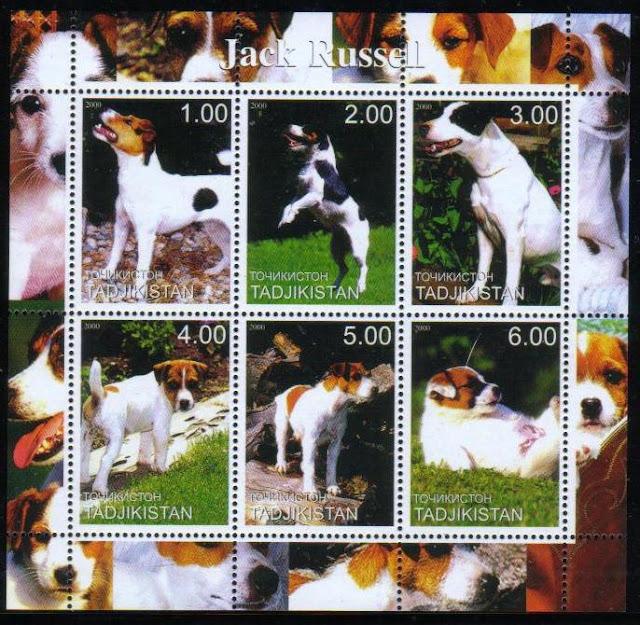 2000年タジキスタン共和国 ジャック・ラッセル・テリアの切手シート