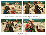 Victorian Christmas Families Post Cards Digital Sheets