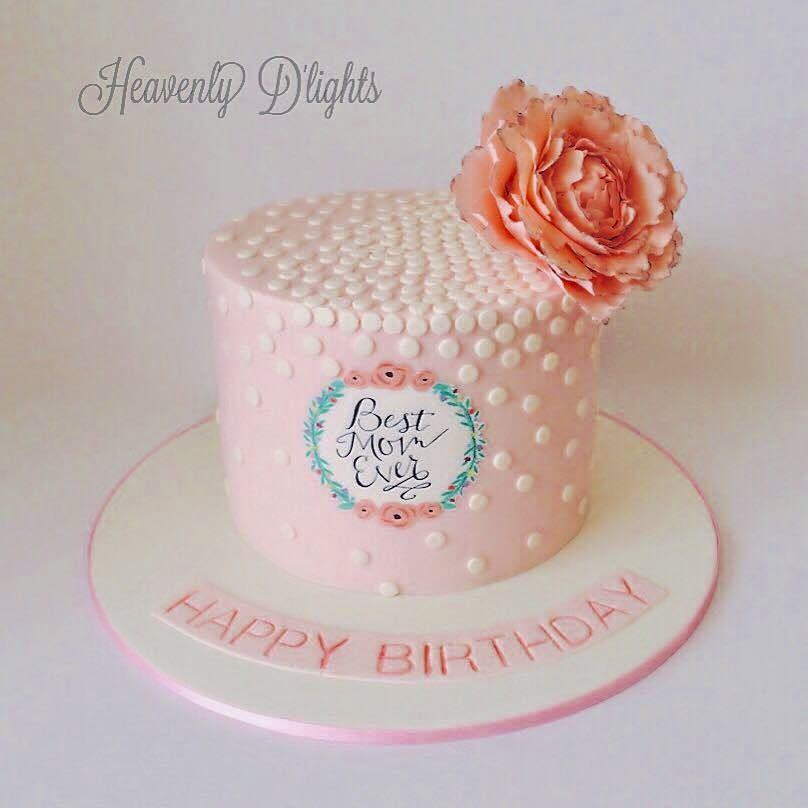 Heavenly Dlights Pink Polkadots With Sugar Peony Cake For Mums