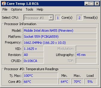 tampilan jendela program Core Temp