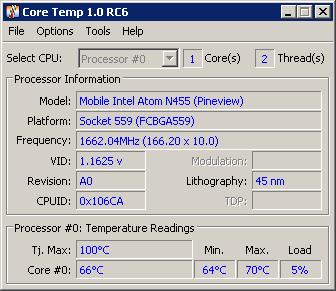tampilan jendela program Core Temp