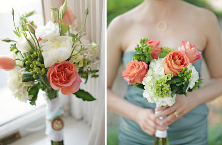 Coral Colored Flower Arrangements Wedding Blog: M...