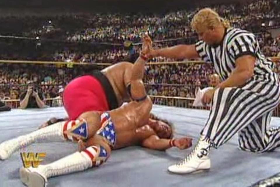 WWF / WWE: Wrestlemania 10 - Lex Luger battled Yokozuna for the WWF title