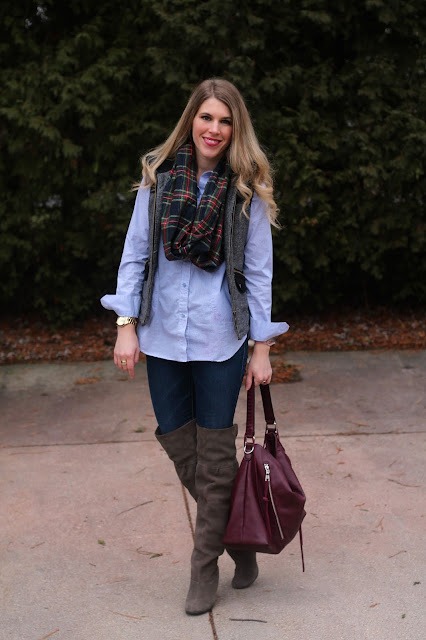 striped button up under tweed vest, with jeans and over the knee boots