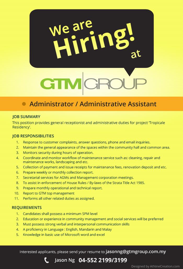 gtm land  u0026 property  we u0026 39 re hiring administrator    administrative assistant