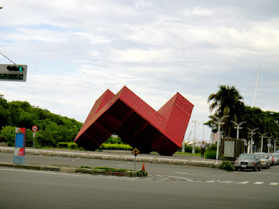 An iconic red container at Xinguang Ferry Wharf Kaohsiung