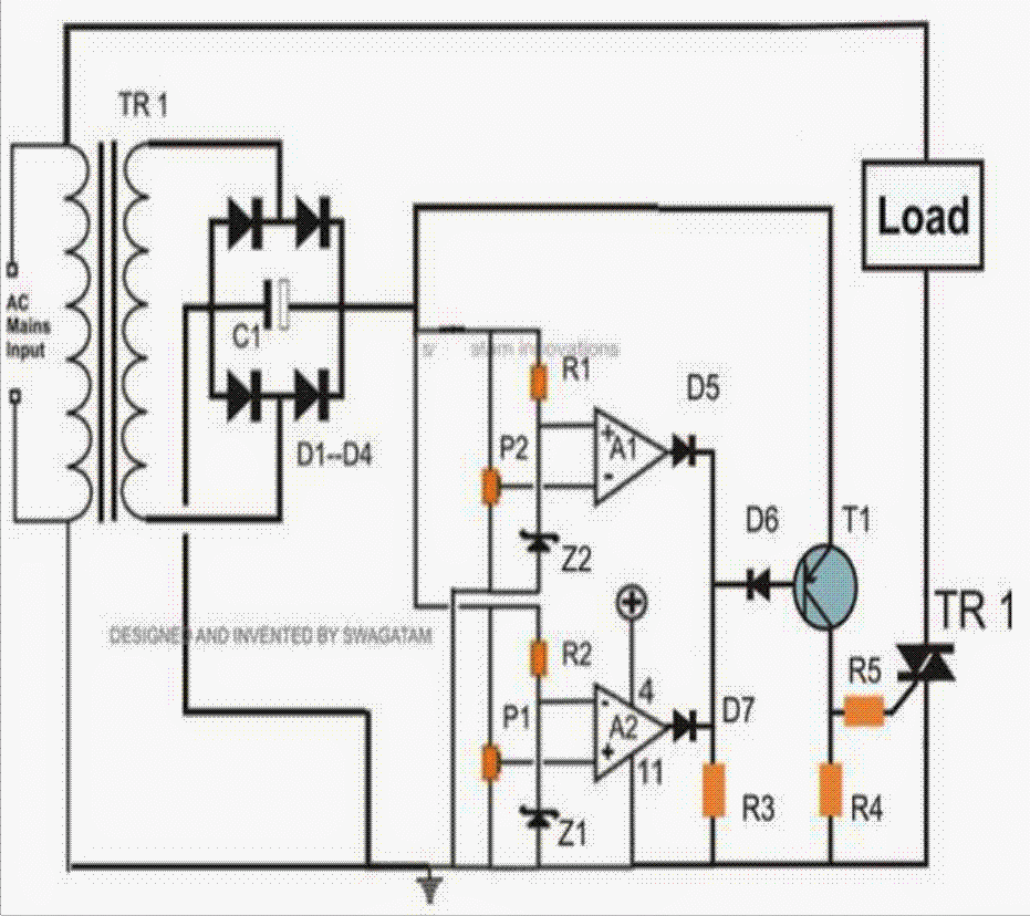 transformerless mains high and low voltage cut off circuit using the transformerless mains high low voltage cut off circuit version of the above explained design can be visualized in the following diagram
