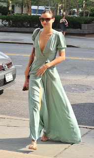 Miranda Kerr in a green flowing long dress