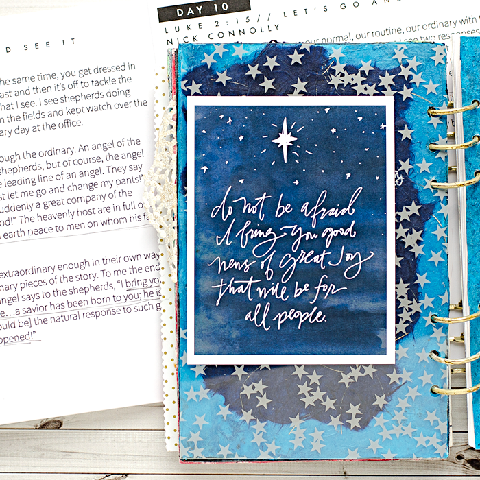 Advent Mixed Media Art Worship Journal | Day 10 using Naptime Diaries Advent Devotional and Calendar cards