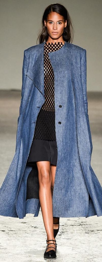 Denim trench-coat, casaco comprido de ganga, trench-coat de ganga