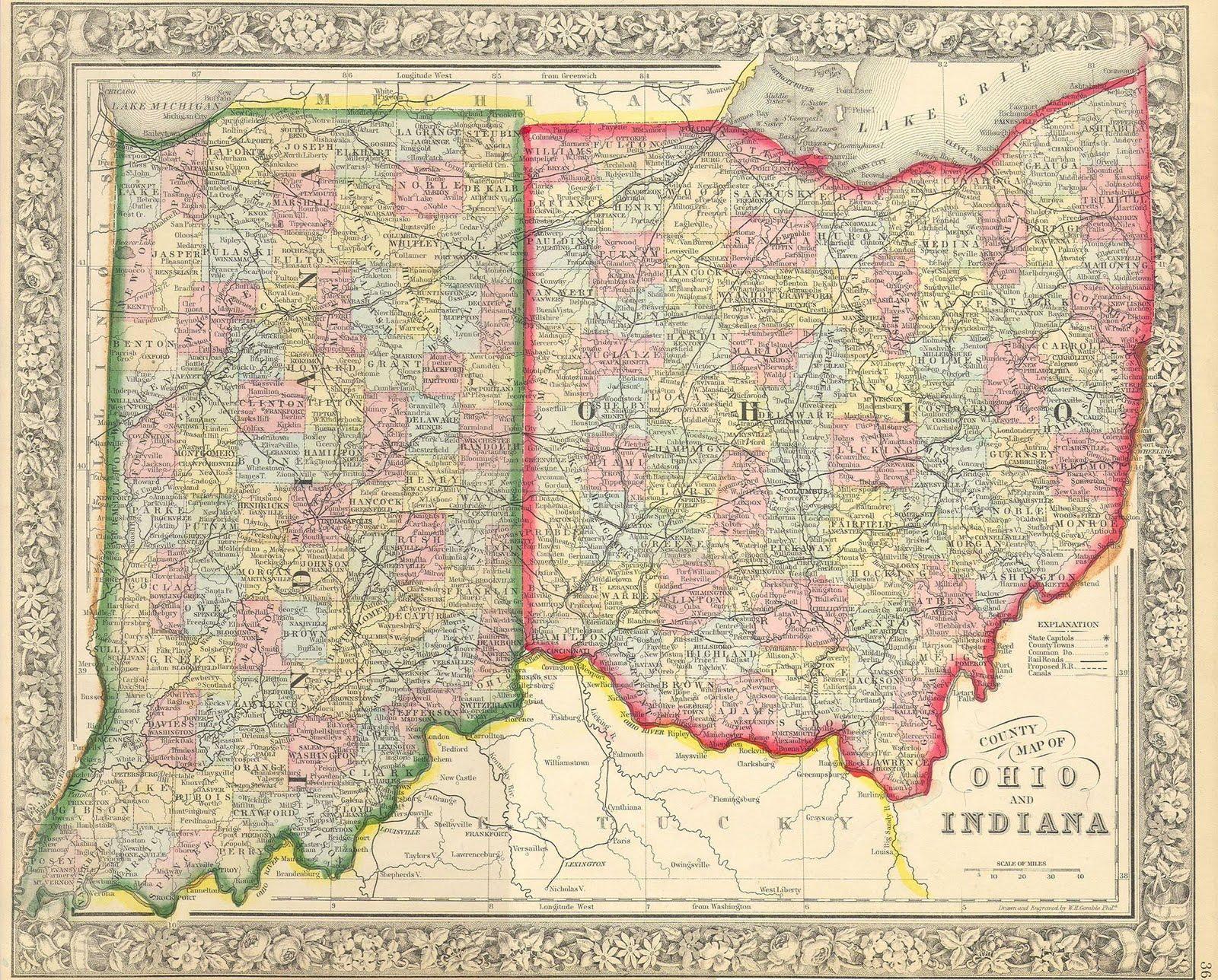 indiana ohio map 1860