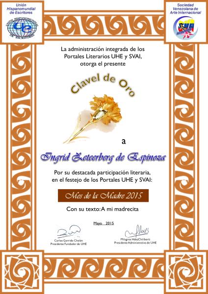 Diploma en Unión Hispana de escritores. Primer puesto