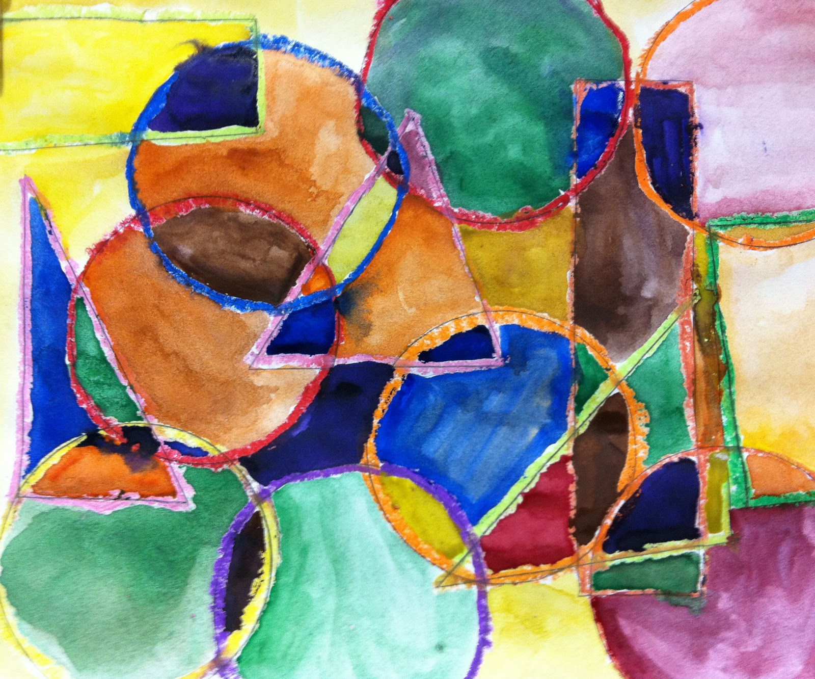 the art room: organic and geometric overlapping shapes