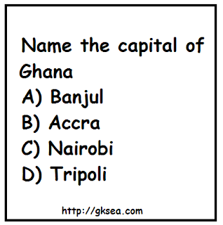 Country - capital Ghana General Knowledge Questions