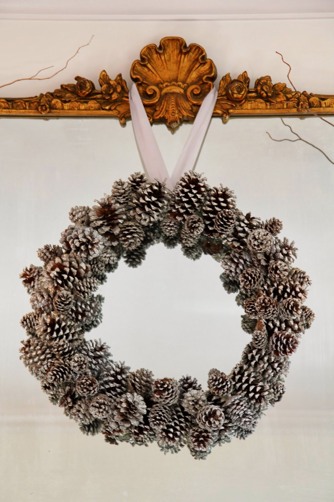 Glittered Pinecone Wreath