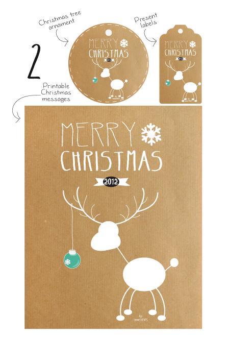 Merry Christmas reindeer Printable