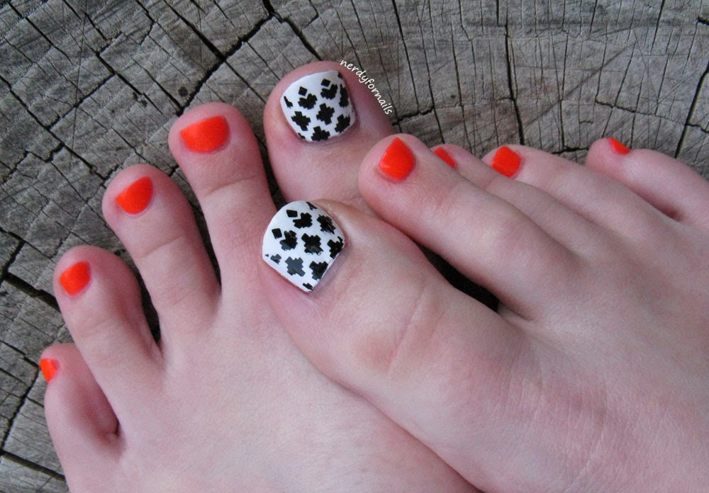 Toesday Pedicure Cute Toes Orly Ablaze Bundle Monster Stamping Black White Coral