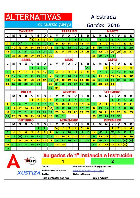 A Estrada. Calendario gardas 2016
