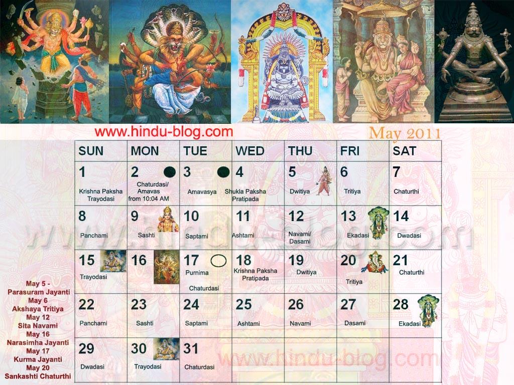 Hindu Calendar May 2011 with Tithi – Narasimha Jayanti Theme
