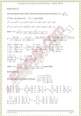 Algèbre 1 td et controles corrigés SMPC S1 FST