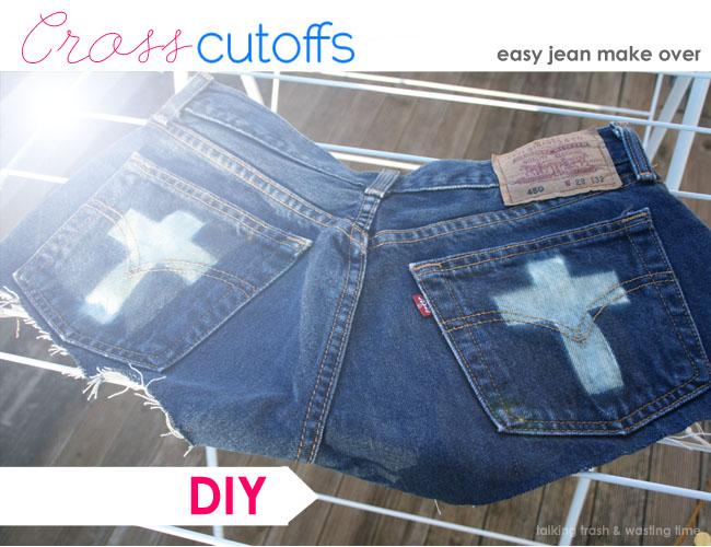 DIY fashion cross pocket pattern jean shorts or cutoffs, easy tutorial