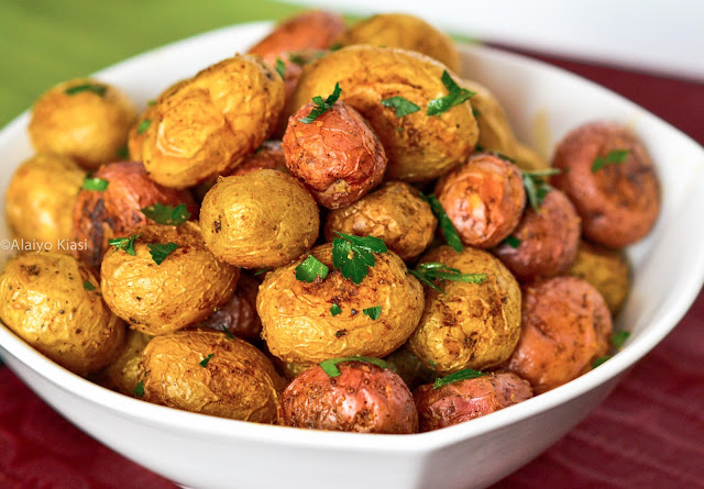 Pescetarian Journal: Spiced, Roasted Red & Dutch Yellow Baby Potatoes
