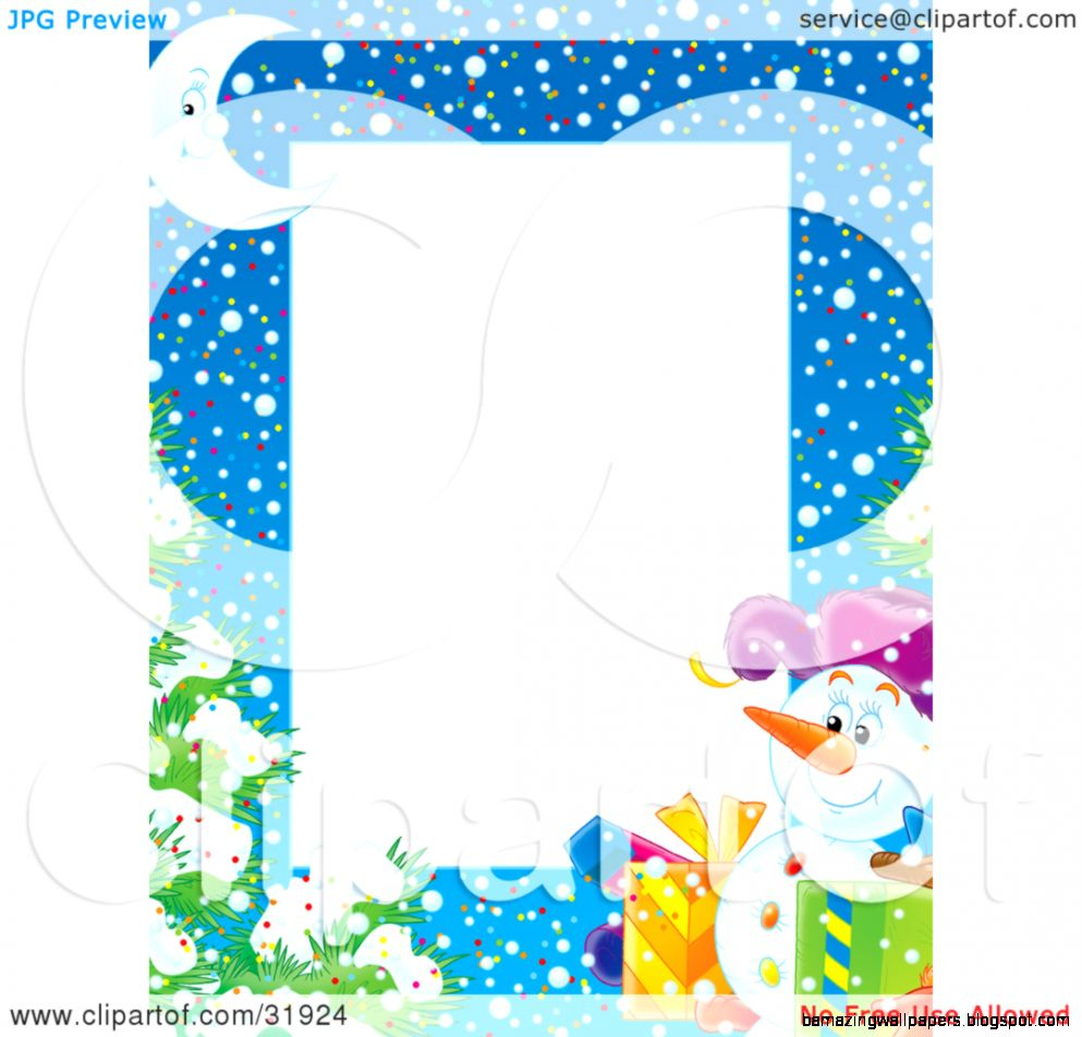 Clipart Illustration of a Stationery Border Of A Crescent Moon