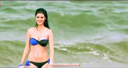 Tena Desae in blue bikini coming out of sea - (6) - Tena Desae Bikini Wallpapers