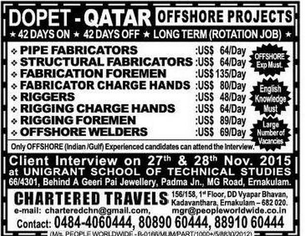 Offshore Job Vacancies For Dopet Qatar Gulf Jobs For