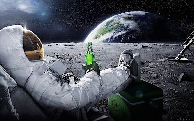 Astronaut Drinking Carlsberg on Moon HD Desktop Wallpaper