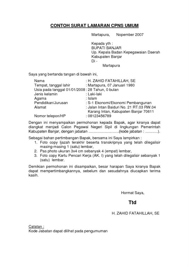 contoh menulis surat lamaran kerja