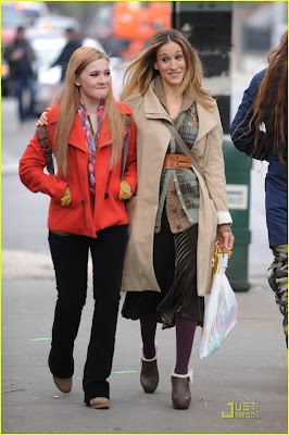 Sarah Jessica Parker and Abigail Bresline were laughing.