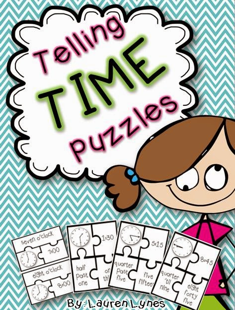 http://www.teacherspayteachers.com/Product/Telling-Time-Puzzles-Time-to-Quarter-Hour-1285082