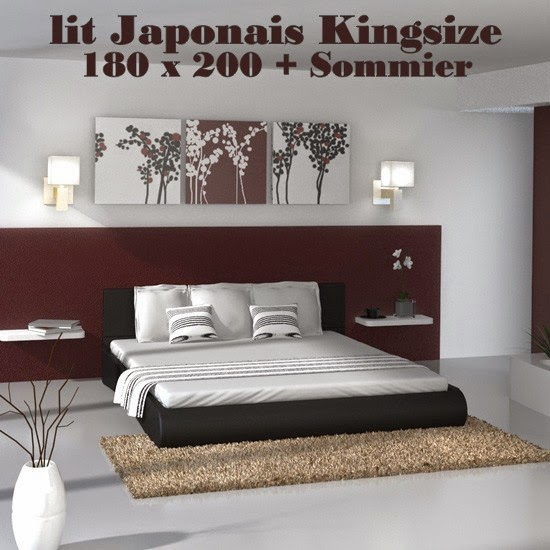 decco interieur lit japonais kingsize 180 x 200 avec. Black Bedroom Furniture Sets. Home Design Ideas