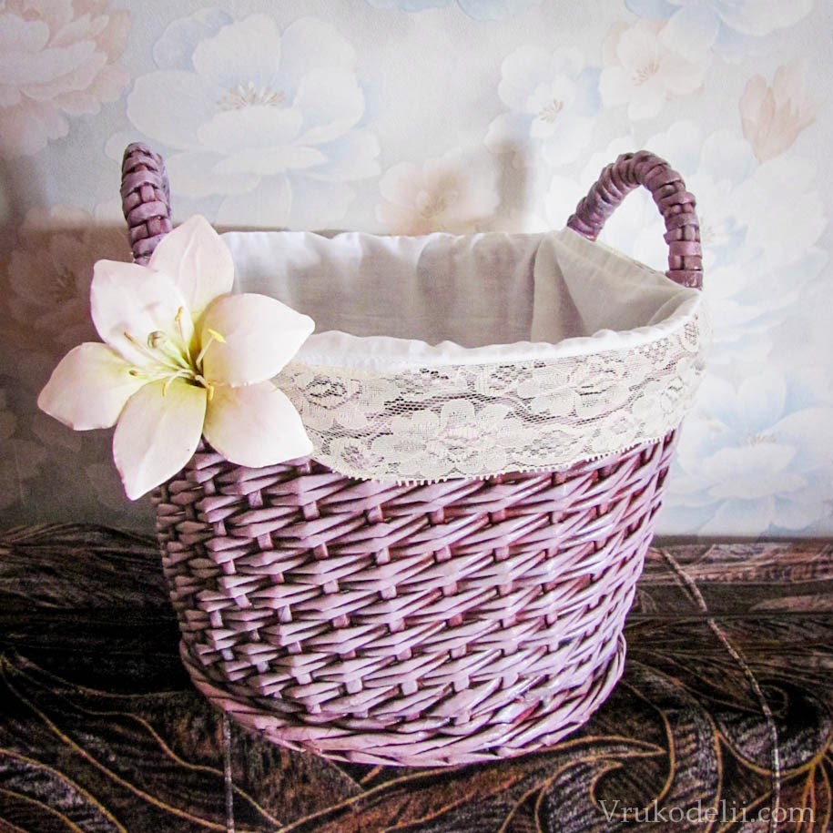 Плетеные корзины из газет фото