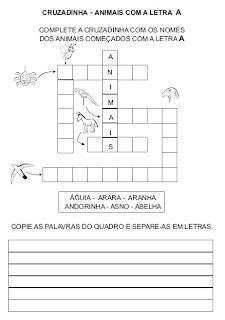 Atividade para alfabetização - Cruzadinha com animais.